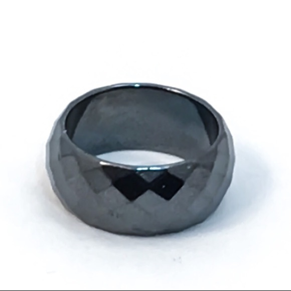 Cherryl's Jewelry - Wide Faceted Hematite Band Ring